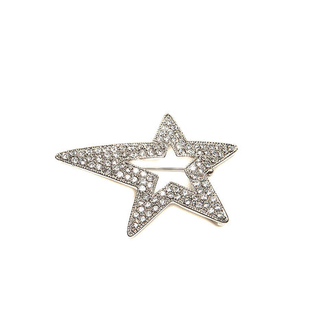 Sparkly Crystal Star Brooch