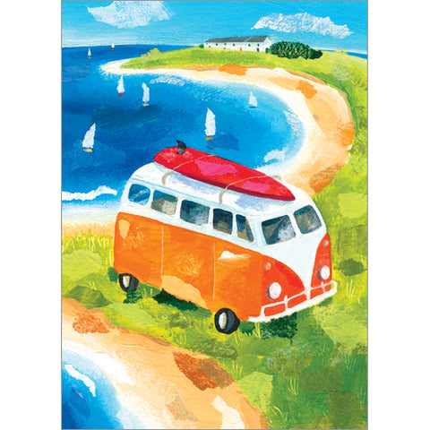 Red Camper Van Greeting Card from Flamingo