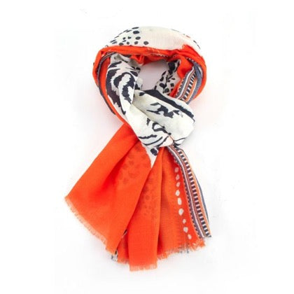 Bright Orange Scarf with Abstract Tiger and Leopard Design