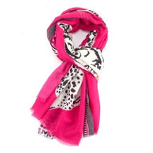 Bright Pink Scarf with Abstract Tiger and Leopard Design