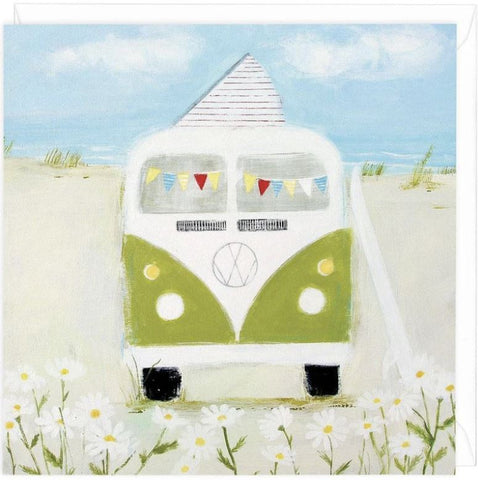 Green Camper greeting card