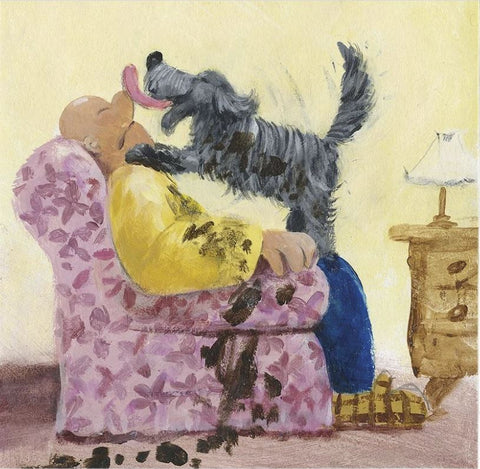 greeting card with exuberant messy dog licking his owner