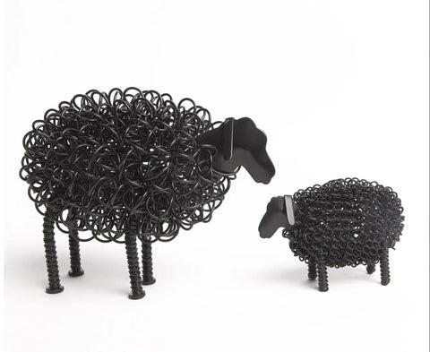 Wiggle Black Sheep with Black Lamb Twisted Metal Wire Ornament