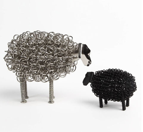 Wiggle Nickel Sheep with Black Lamb twisted wire metal ornament
