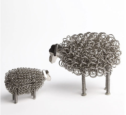 Wiggle Nickel Sheep with Nickel Lamb twisted wire ornament