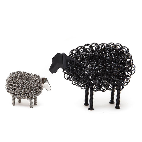 Wiggle Black Sheep with Nickel Lamb twisted  wire ornamentswire