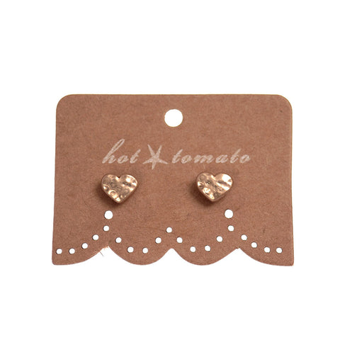 Hot Tomato Matt Gold Micro Heart Stud Earrings