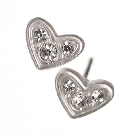 Hot Tomato Triptych Crystal Matt Silver Heart Stud Earrings