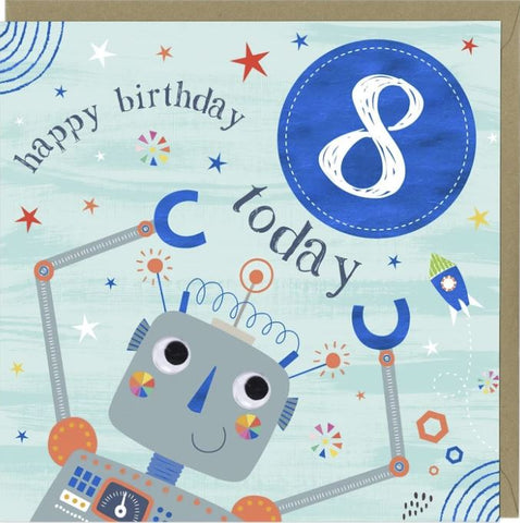 Happy Birthday 8 Today Greetings Card