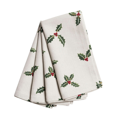 Sophie Allport Holly and Berry Napkins (Set of 4)