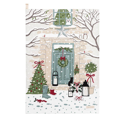 Sophie Allport Holly and Berry Scene Tea Towel