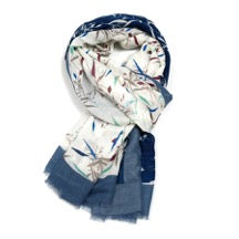 Cream/Navy Scarf with Bamboo Design