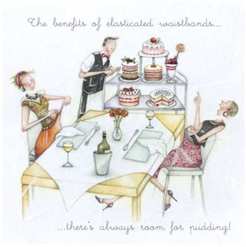The Benefits of Elasticated Waistbands..... Greeting Card from Berni Parker