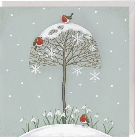 Snowdrops and Robins Christmas Card