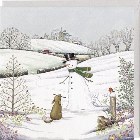 Snowman and Dog Christmas Card