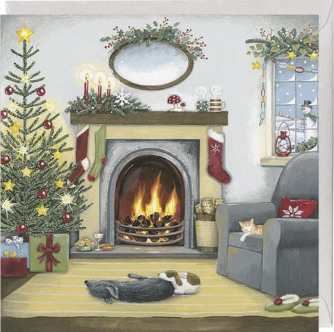 Relaxing by the Fire Christmas Card