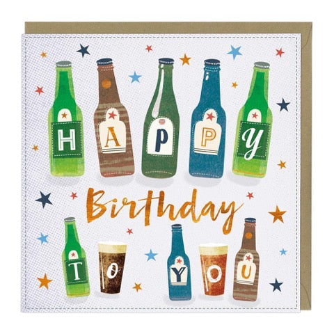 Happy Birthday Bottles Greeting Card