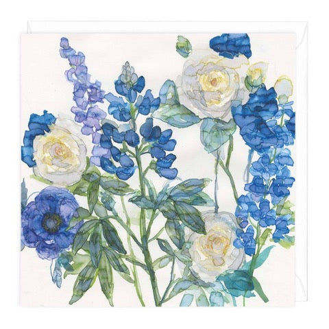 Blue Lupin and Roses Greeting Card