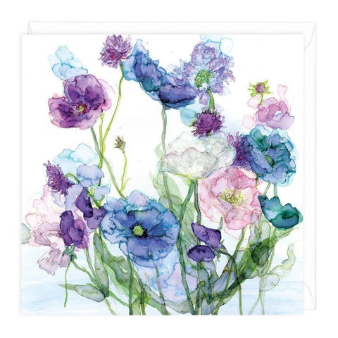 Blue Poppies and Sweet Peas Greeting Card