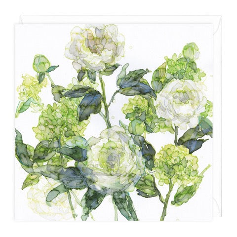 White Peonies and Hydrangeas Greeting Card