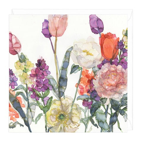Tulips and Wallflowers Greeting Card