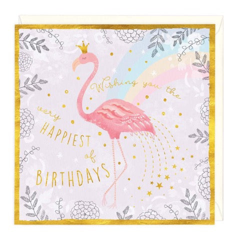 Pink Flamingo Happiest of Birthdays Greeting Card