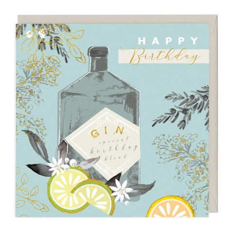 Gin Happy Birthday Greeting Card