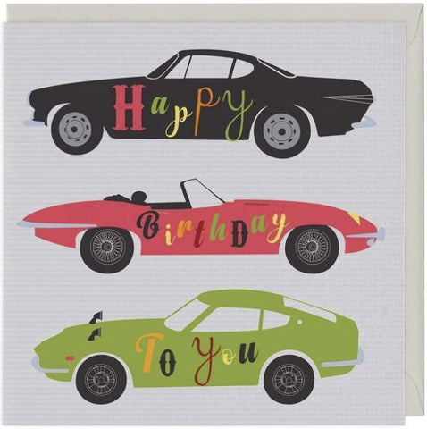 Happy Birthday to You card with sports cars