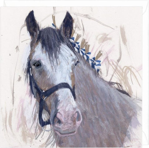 Whitehills Bleu Clydesdale horse greeting card
