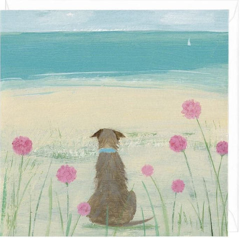 Among the Sea Pinks greeting card with sea gazing dog
