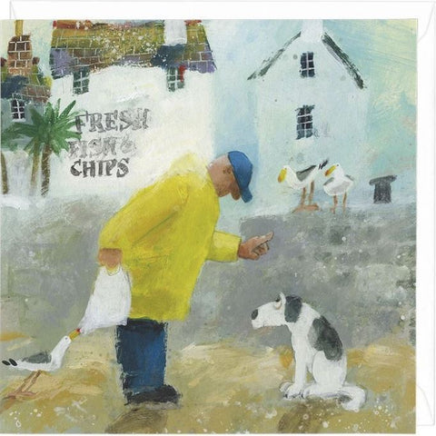 Seaside Takeaway Greeting Card with reprimanded dog and thieving gull