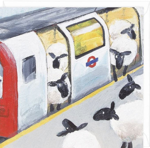 Ewe Tube greeting card with tube commuting ewes