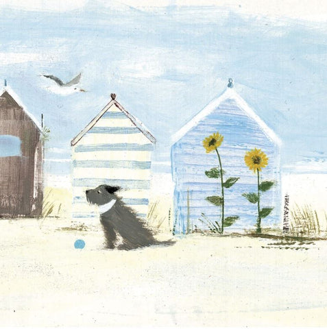 Sunflowers greeting card with wind swept dog and beach huts