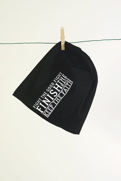 Trikot-Beanie in schwarz: FIGHT THE GOOD FIGHT
