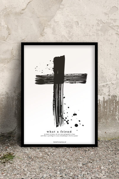 50×70-Grosses Poster: KREUZ - WHAT A FRIEND WE HAVE IN JESUS