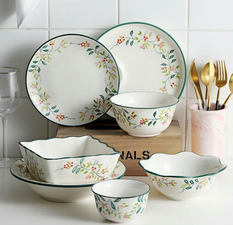 Green Floral Ceramic Set