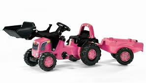 Rolly Kid Pink Tractor With Loader & Trailer - Beattys of Loughrea , www.beattys.ie