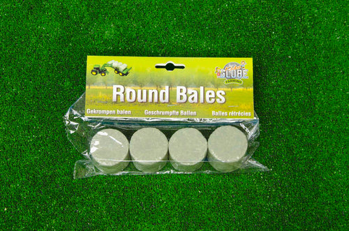 Kids Globe 1:32 Pack of 4 Round Silage Bales  At Beattys Loughrea Galway. Www.beattys.ie