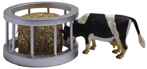 Kids Globe 1:32 Feeder Ring with Round Bale & Cow  At Beattys Loughrea Galway. Www.beattys.ie