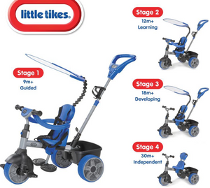 LITTLE TIKES 4IN1 TRIKE BLUE  At Beattys Loughrea Galway. Www.beattys.ie