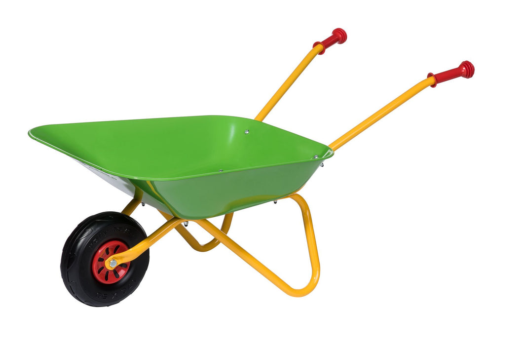 Rolly Metal Wheelbarrow Green & Yellow  At Beattys Loughrea Galway. Www.beattys.ie
