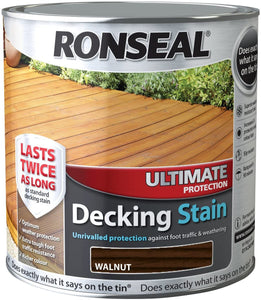 Ronseal Ultimate Protection Decking Stain - 2.5 Litre Walnut  At Beattys Loughrea Galway. Www.beattys.ie