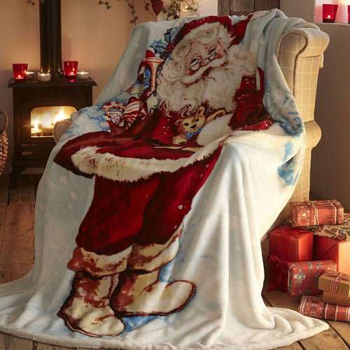 Christmas Santa Claus Sherpa Throw. Buy at Beattys Loughrea Galway. Www.beattys.ie