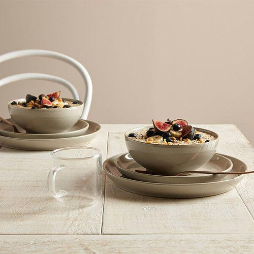 Denby Intro Taupe 12 Piece Tableware Set. Buy at Beattys Loughrea Galway. Www.beattys.ie