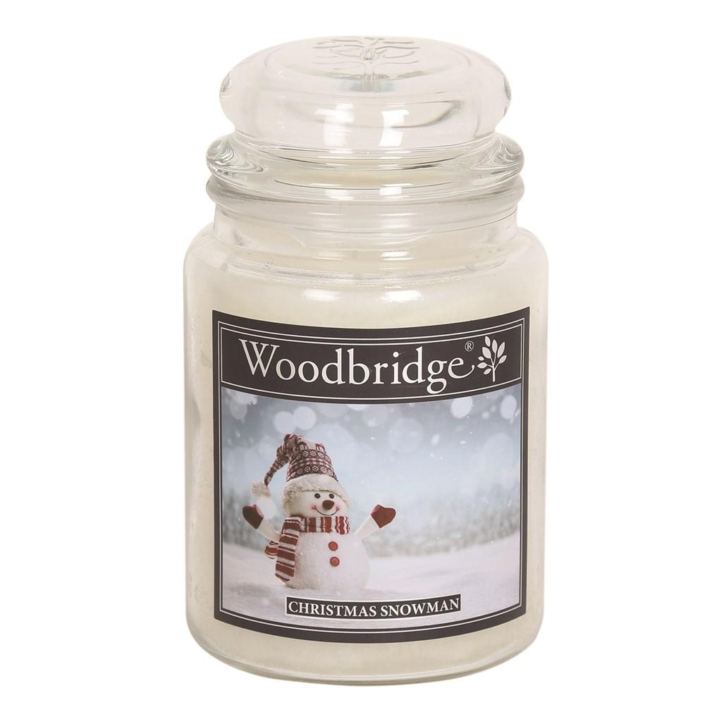 Christmas Snowman Woodbridge Large Scented Candle Jar  At Beattys Loughrea Galway. Www.beattys.ie