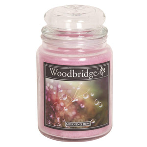 Morning Dew Woodbridge Large Scented Candle Jar  At Beattys Loughrea Galway. Www.beattys.ie