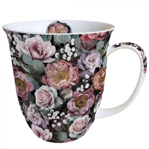 Mug 0.4L Vintage Flowers Black - Beattys of Loughrea , www.beattys.ie