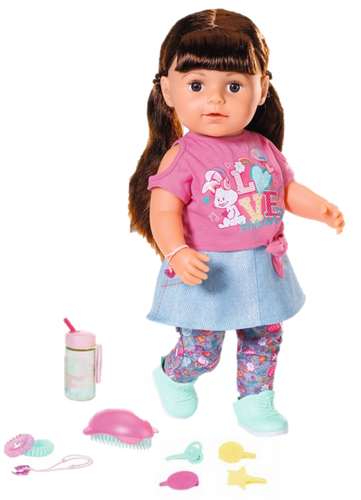 BABY BORN SOFT TOUCH SISTER BRUNETTE 43CM  At Beattys Loughrea Galway. Www.beattys.ie