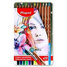 Maped Tin 12 Watercolour Pencils & Paintbrush Buy Instore or online at beattys.ie