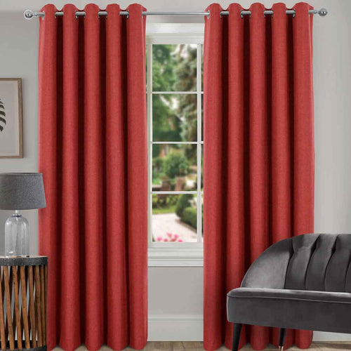 Spencer Terracotta Blackout Eyelet Curtains 66 x 90. Buy at Beattys Loughrea Galway. Www.beattys.ie
